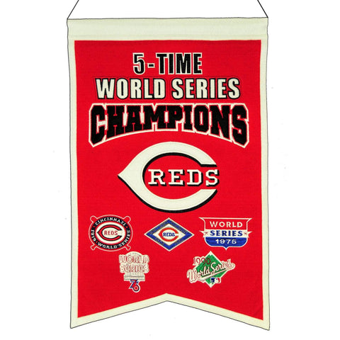 "Shop Cincinnati Red MLB 5-Time World Series Champions Wool Banner (14"" x 22"")"