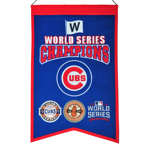 "Shop Chicago Cubs MLB 3-Time World Series Champions Wool Banner (14"" x 22"")"