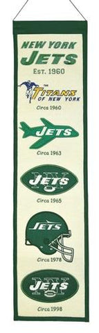 "New York Jets Winning Streak Past Mascots Wool Heritage Banner (8""x32"")"