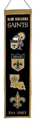 "New Orleans Saints Winning Streak Past Mascots Wool Heritage Banner (8""x32"")"