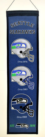 "Seattle Seahawks Winning Streak Past Mascots Wool Heritage Banner (8""x32"")"