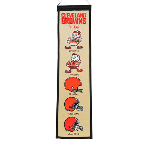 "Shop Cleveland Browns Winning Streak Past Mascots Khaki Wool Fan Fave Banner (8""x32"")"