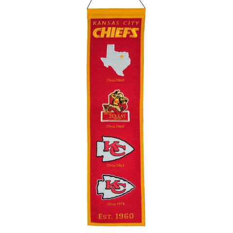 "Shop Kansas City Chiefs Winning Streak Past Mascots Wool Fan Fave Banner (8""x32"") - Sporting Up"