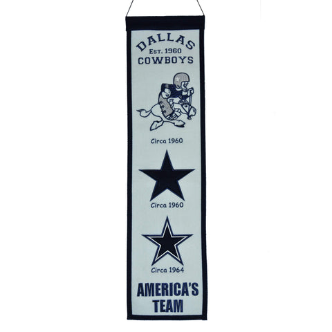 "Shop Dallas Cowboys Winning Streak Past Mascots Wool Fan Fave Banner (8""x32"")"