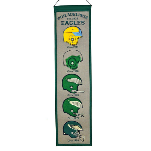 "Philadelphia Eagles Winning Streak Past Helmets Wool Fan Fave Banner (8""x32"")"