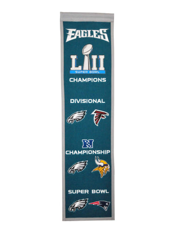 Philadelphia Eagles 2018 Road To The Super Bowl 52 Lii Wool Banner