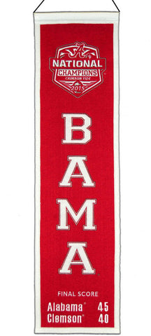 Alabama Crimson Tide 2016 Football National Champions Wool Heritage Banner 8x32""