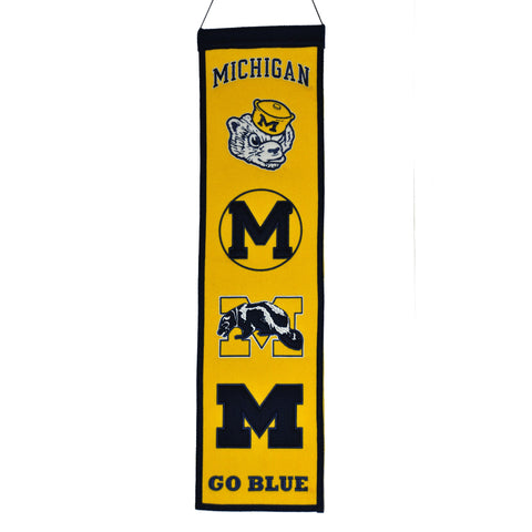 "Shop Michigan Wolverines Winning Streak Past Mascots Wool Fan Fave Banner (8""x32"") - Sporting Up"