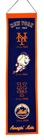 "New York Mets Winning Streak Past Mascots Wool Heritage Banner (8""x32"")"