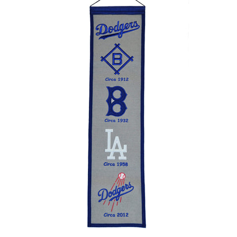 "Shop Los Angeles Dodgers Winning Streak Past Mascots Wool Fan Fave Banner (8""x32"")"