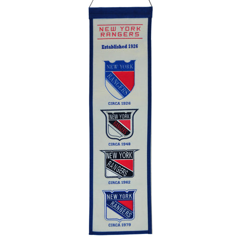 "Shop New York Rangers Winning Streak Past Mascots Wool Fan Fave Banner (8""x32"")"