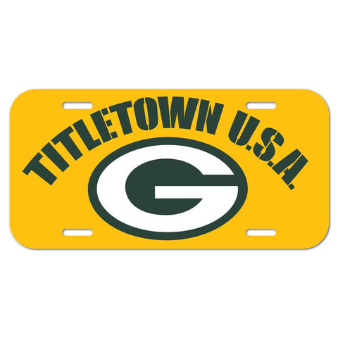 Shop Green Bay Packers WinCraft Green Yellow Titletown USA Plastic License Plate