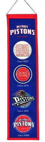 "Detroit Pistons Winning Streak Past Mascots Wool Heritage Banner (8""x32"") - Sporting Up"