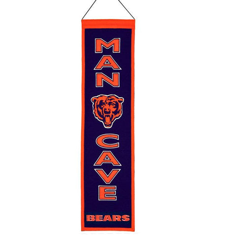 "Chicago Bears Winning Streak Man Cave Vertical Wool Banner (8""x32"") - Sporting Up"