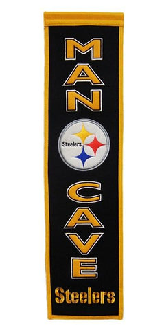 "Pittsburgh Steelers Winning Streak Man Cave Wool Banner (8""x32"")"