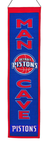 "Detroit Pistons Winning Streak Man Cave Wool Banner Blue(8""x32"") - Sporting Up"