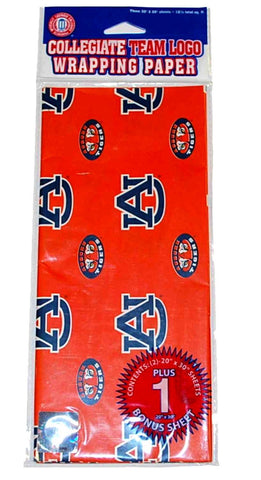 "Shop Auburn Tigers Team Logo Gift  Wrapping Paper 3 Sheets (30""x20"")"