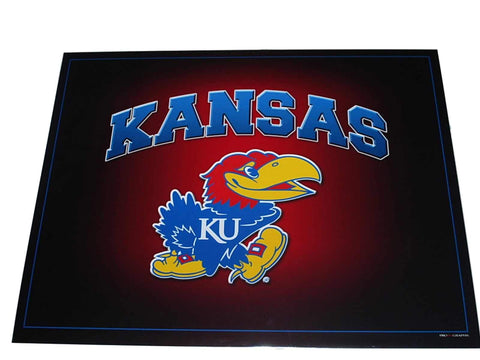 "Shop Kansas Jayhawks Arched Mascot Crimson Background Print 16"" X 20"""