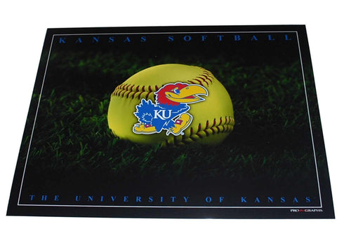 "Shop Kansas Jayhawks Women's Softball Studio Black Print 16"" X 20"" - Sporting Up"