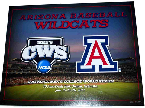 Shop Arizona Wildcats 2012 Baseball College World Series Grey Print 16 X 20
