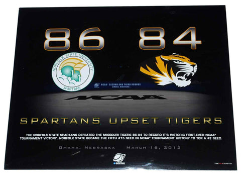 "Shop Norfolk State Spartans ""Upset Tigers"" Ready to Frame Print 16"" X 20"""