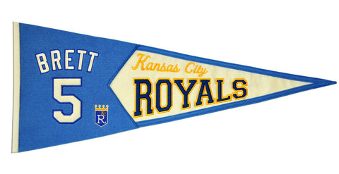 Shop Kansas City Royals Winning Streak George Brett #5 Legends Wool Pennant