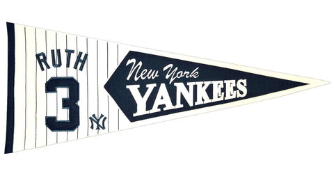 Shop New York Yankees Winning Streak Babe Ruth #3 Legends Wool Pennant