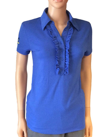 Shop Kansas Jayhawks Meesh & Mia Women Blue 1/2 Buttoned Frill Polo Shirt