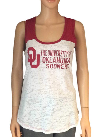 Oklahoma Sooners Blue 84 Women White Red Burn Out Tank Top Shirt