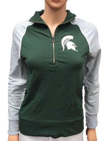 Shop Michigan State Spartans GG Women Green Fitted 1/4 Zip Pullover Jacket