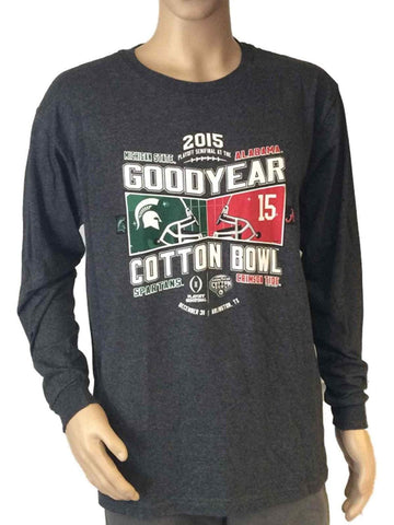Shop Alabama Crimson Tide Michigan State Spartans 2015 Cotton Bowl Gray LS T-Shirt