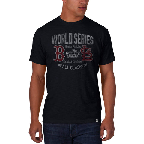 Shop Boston Red Sox St Louis Cardinals 2013 World Series 47 Brand Black Scrum T-Shirt