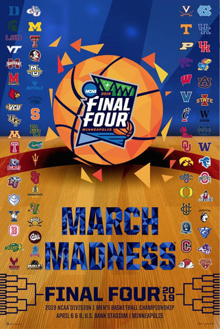 2019 Official NCAA Final Four March Madness Basketball Team Logos Print Poster