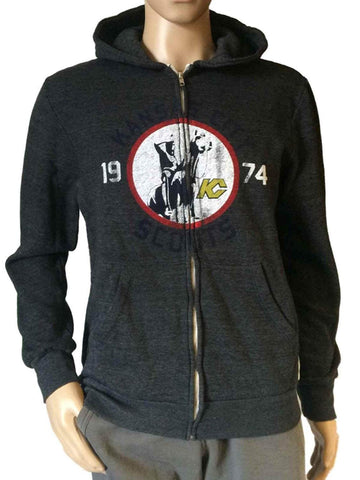Kansas City Scouts Retro Brand Gray TriBlend Fleece Full Zip Up Hoodie Jacket