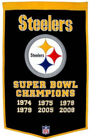 "Pittsburgh Steelers Winning Streak Genuine Wool Dynasty Banner (24""x36"")"