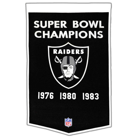 "Oakland Raiders Winning Streak Genuine Wool Dynasty Banner (24""x36"")"