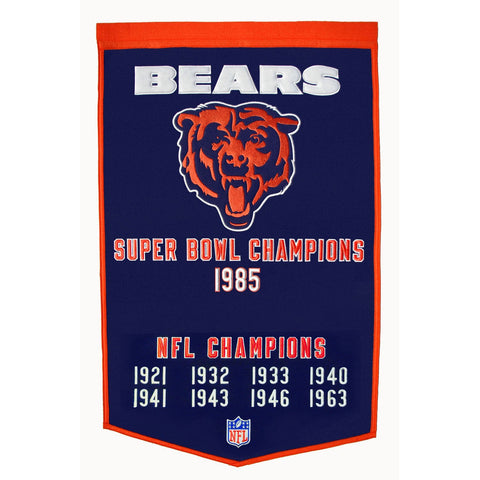Chicago Bears Winning Streak Super Bowl Champions Wool Dynasty Banner