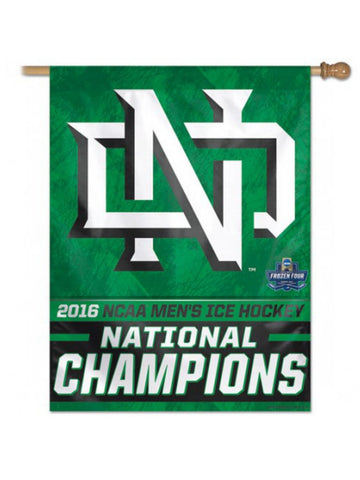 North Dakota Fighting Hawks 2016 Hockey National Champs Vertical Flag Banner