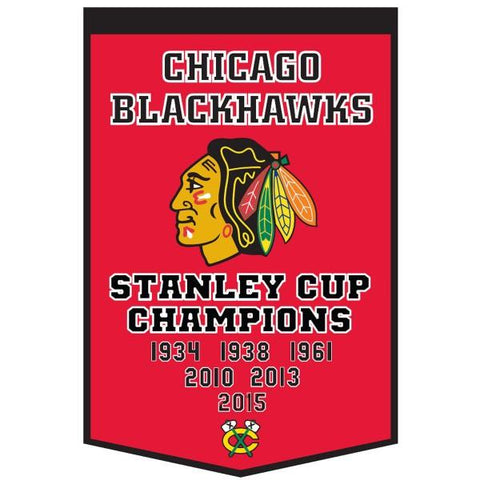 "Shop Chicago Blackhawks Winning Streak Genuine Wool Dynasty Banner (24""x36"")"
