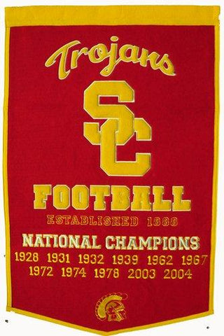 "USC Trojans Winning Streak Genuine Wool Dynasty Banner (24""x36"")"