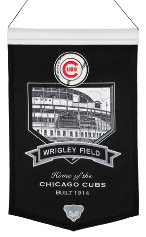 "Chicago Cubs Winning Streak Black Wrigley Field Baseball Wool Banner (15""x20"")"