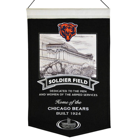 "Shop Chicago Bears Winning Streak Soldier Field Black Wool Banner (15""x20"")"