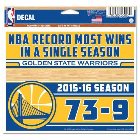 Shop Golden State Warriors 2016 NBA Most Wins Record 73-9 WinCraft Multi-Use Decal