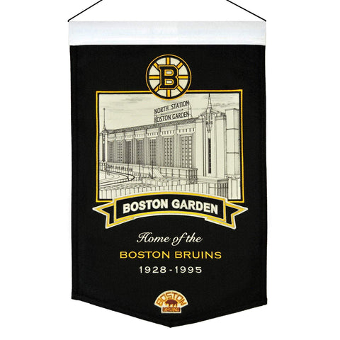 "Shop Boston Bruins Winning Streak Black Boston Garden Wool Banner (15""x20"")"