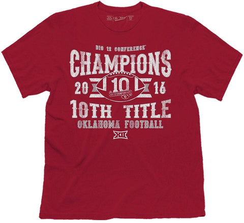 Oklahoma Sooners 2016 Big 12 Football Conference Champions 10th Title T-Shirt - Sporting Up