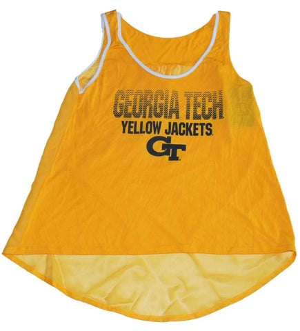 Georgia Tech Yellow Jackets Blue 84 Gold Womens See-through Back Tank Top (M)
