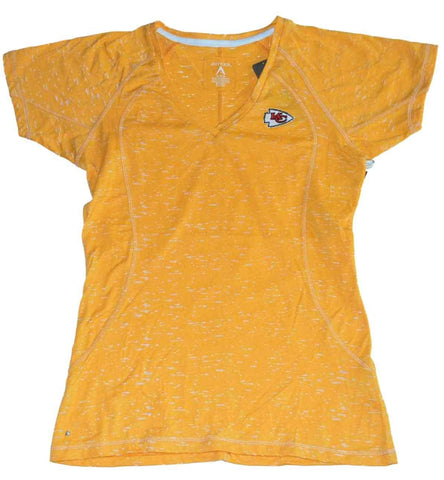 Kansas City Chiefs Antigua Womens Gold Translucent V-Neck T-Shirt (M)