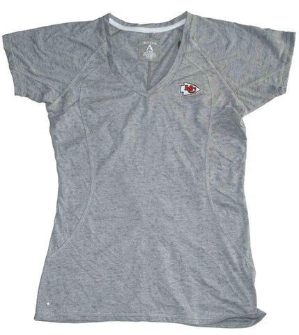 Shop Kansas City Chiefs Antigua Womens Gray Embroidered Logo V-Neck T-Shirt (M) - Sporting Up