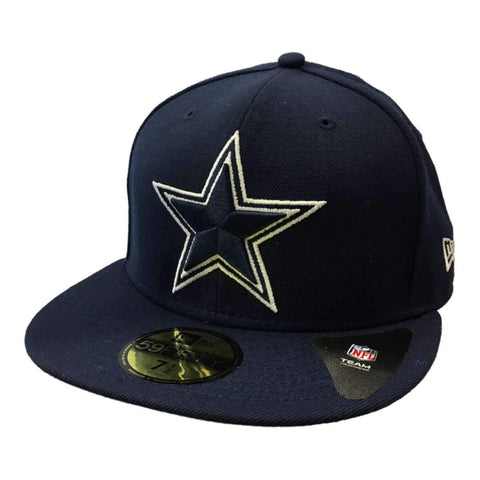 Shop Dallas Cowboys New Era 59Fifty Navy Structured Fitted Flat Bill Hat Cap (7 1/2)