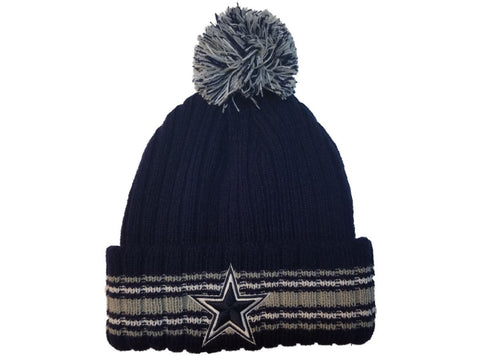 Shop Dallas Cowboys New Era Navy with Gray & White Stripes Cuffed Pom Beanie Hat Cap - Sporting Up